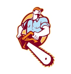 Lumberjack tree surgeon arborist chainsaw retro vector