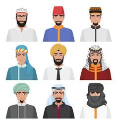 Middle eastern men avatar set arabian muslim male vector