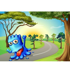 A blue monster running with a smile vector