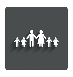 Complete large family with many children sign vector