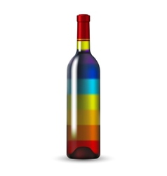 Color glass wine bottle vector