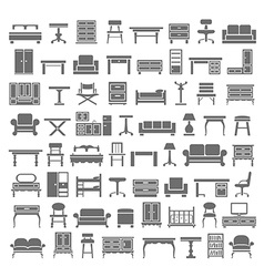 Black icons furniture vector