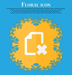 Delete file document floral flat design on a blue vector
