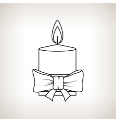 Christmas festive candle on a light background vector