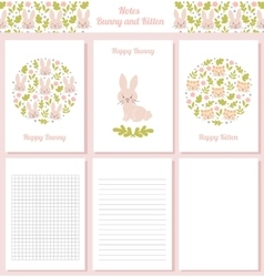Notes bunny and kitten vector