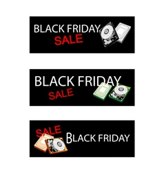 Computer hard disk on three black friday banner vector