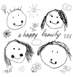 Happy family doodle real child vector