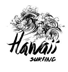 Hawaii surfing lettering brush ink sketch vector