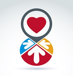 Colorful corporate brand icon with a red heart vector