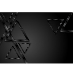 Black tech glossy triangles background vector