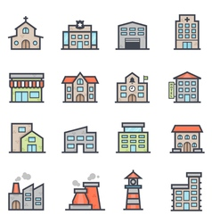 Building icon bold stroke with color vector