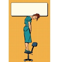 Businesswoman standing on a chair holding the sign vector