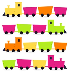 Colorful Trains set isolated on white vector image vector image