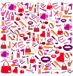 Cosmetic make up and beauty icons and background vector image