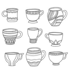 doodle of cartoon cups for tea coffee on vector image