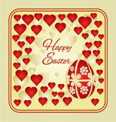 Easter frame easter eggs and hearts vector