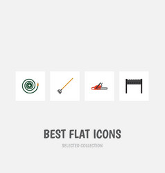 Flat icon dacha set of tool barbecue hacksaw and vector
