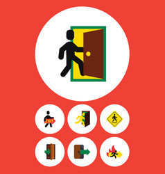Flat icon door set of evacuation fire exit vector