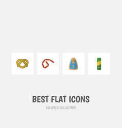 flat icon food set of spaghetti cookie bratwurst vector image vector image
