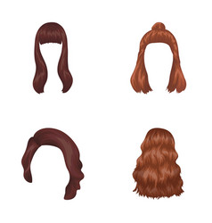 Long red and other types of hairstyles back vector