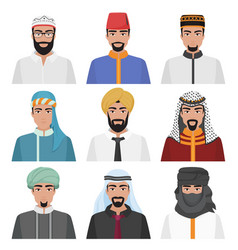 middle eastern men avatar set arabian muslim male vector image vector image