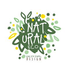 natural eco label logo graphic template hand vector image vector image
