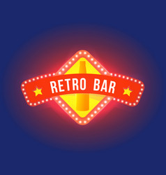 night signboard with light text of retro bar vector image