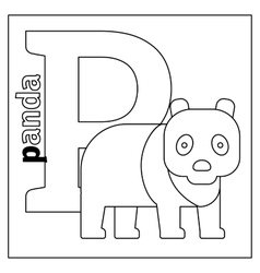 Panda letter p coloring page vector