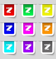 Pocket knife icon sign set of multicolored modern vector