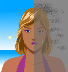 portrait of depressed woman vector image vector image