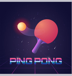Racket for ping pong with ball in futuristic style vector