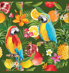 Seamless tropical fruits and parrot pattern vector