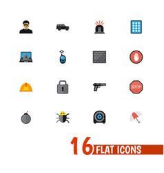 set of 16 editable safety icons includes symbols vector image vector image