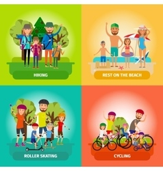 set of family or healthy lifestyle concepts vector image vector image