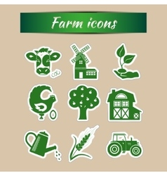 Set of farm icons vector image
