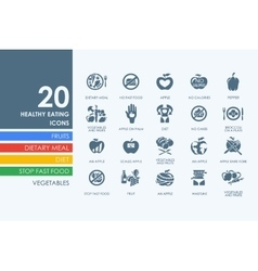 Set of healthy eating icons vector image
