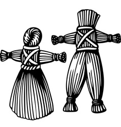 Straw man and woman vector image vector image
