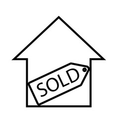 Thin line sold sign icon vector