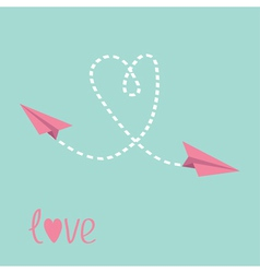 Two flying paper planes Heart in the sky Love card vector image vector image