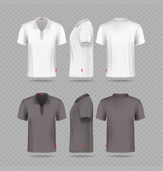 White black mens polo t-shirt set isolated on vector