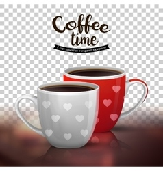 Two cups coffee isolated on transparent vector