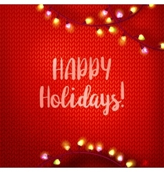 Happy holidays on red kniting vector