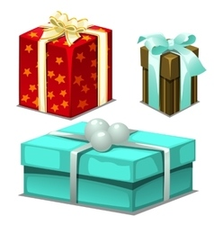 Three gift boxes with ribbons and beads vector image