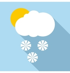 Snow in sunny weather icon flat style vector