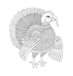 Black and white line art turkey decoration for vector