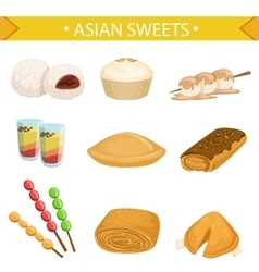 Asian sweets famous dishes set vector