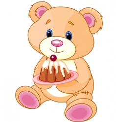 Teddy bear with cake vector