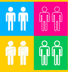 gay family sign four styles of icon on four color vector image