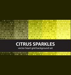 heart pattern set citrus sparkles seamless vector image