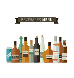 Bottles of alcoholic beverages vector